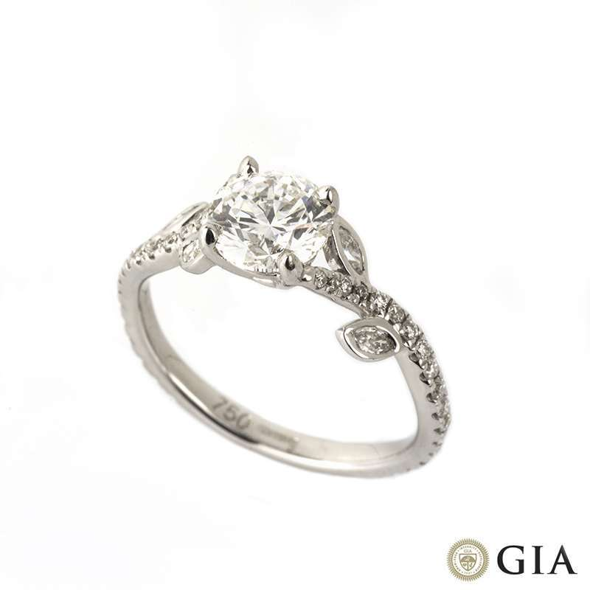 White Gold Round Brilliant Cut Diamond Ring 1.01ct E/VVS1